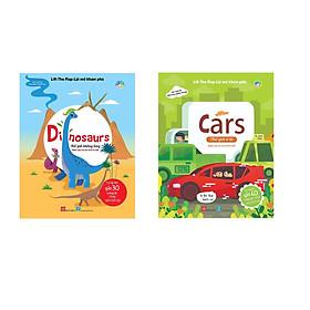 Bộ  02 cuốn sách giúp kích thích trí tò mò của bé: Lift-the-flap-Lật mở khám phá - Dinosaurs - Thế giới khủng long + Lift-the-flap-Lật mở khám phá - Cars - Thế giới ô tô