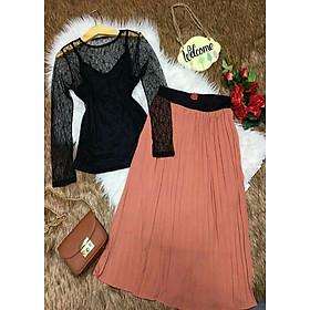 Set áo phối ren chân váy dập ly SET 028 - Free size