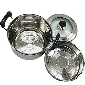 Nồi hấp đa năng inox 2 đáy 22cm Hoàng Gia cao cấp dùng trên mọi loại bếp