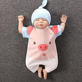 Body Cộc cho Bé Trai Bé Gái chất Cotton mềm mịn kèm Mũ họa tiết siêu dễ thương từ 0-24 tháng tuổi