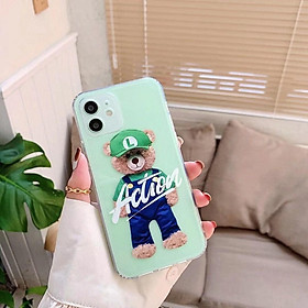 Case Ốp Lưng Teddy Trong Suốt Dành Cho Iphone 11, 11 Pro Max, 12, 12 Pro, 12 Pro Max