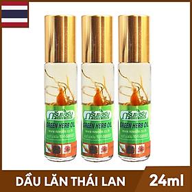 Bộ 3 Chai Dầu Lăn Thảo Mộc Greenskin Green Herb Oil - Chai 8ml