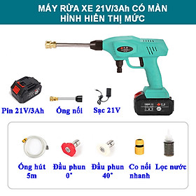 Máy rửa xe mini không dây di động, pin sạc tích hợp màn hình hiển thị mức pin, 21V/3.0Ah/240W, áp lực nước 30 bar