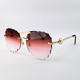 Mắt kính mát nữ tròng không viền 7K9087 màu nâu, đỏ, khói. Tròng phân cực, chống tia UV. Gọng kim loại ôm sát mặt