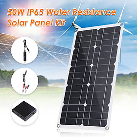50W D C 9V/18V Flexible Solar Panel with 50A L-ED Display Controller Kit Set with USB/ Type C Interface & Car C-harger