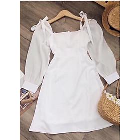 Đầm Xòe Trắng Dài Tay Thắt Nơ Vai Cổ Vuông Cực Đẹp Màu Trắng Công Chúa