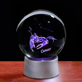 Quà tặng pha lê khắc 3D Laser đế led cung Cự Giải - Cancer