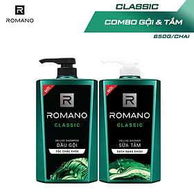 Combo Dầu gội và Sữa tắm Romano Classic cổ điển lịch lãm 650gr/chai