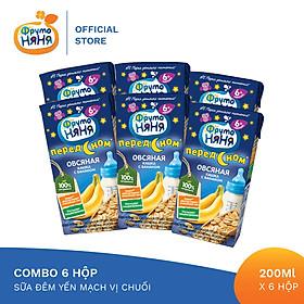 Combo 6 Hộp Sữa đêm yến mạch vị chuối Fruto Nyanya 200ml