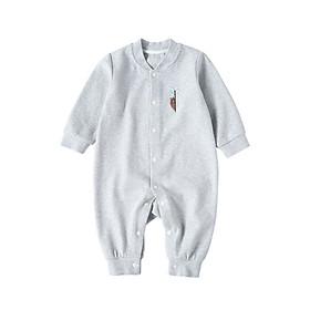 Bo Ruien pureborn newborn baby onesies spring and autumn cotton romper men and women baby long sleeves robe newborn clothes ash 59cm 0-3 months
