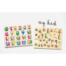 Bảng học thông minh cho bé - combo bảng 20 số và bảng tiếng Việt kiểu chữ viết tay có núm MK00108