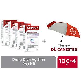 Combo 4 chai dung dịch vệ sinh phụ nữ Canesten Sensicare Calm 100ml/chai - Tặng 1 dù đi mưa