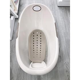 COMBO Chậu tắm đa năng kèm giá đỡ + 01 khăn tắm vải mùng trắng 4 lớp 80×80 cm ( Tặng 01 bấm móng tay cho bé )