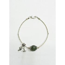 Vòng tay Hạt Ngọc Phương Đông đá Thạch Anh Tóc xanh - charm cao cấp