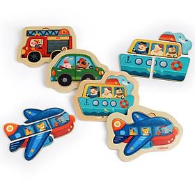 Mideer xếp hình gỗ Mini dành cho bé 12 tháng tuổi chủ đề các phương tiện giao thông