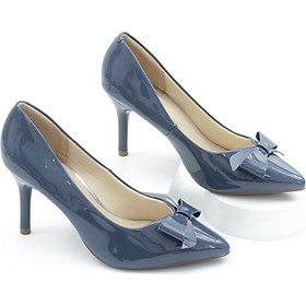 Giày Cao Gót 7cm Da Bóng Gắn Nơ Pixie P259