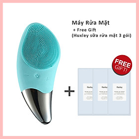 Máy Rửa Mặt Mini Massage Làm Sạch Sâu Tích Hợp Sóng Âm BR-1020 + 3 gói sữa rửa mặt cao cấp HUXLEY Deep Clean, Deep Moist mini 3ml