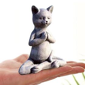 Unique Cat Figurine Buddha 12x9cm Statue Animal Decor Bookcase Sculpture