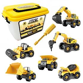 Bộ đồ chơi lắp ráp xe công trình KAVY  gồm 6 xe kèm hộp đựng, tua vít, nhựa nguyên sinh kích thích tính thực hành của bé
