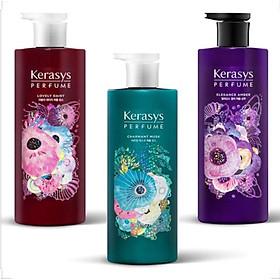 Cặp gội xả nước hoa hương Violet tím và hoa diên vỹ Kerasys Elegance Amber Hàn Quốc 600ml tặng kèm móc khóa-3