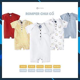 Le coon- Bộ romper áo liền quần chui cổ cho bé trai, bé gái chất liệu 100% cotton thân thiện với da bé