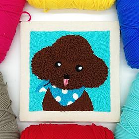 Set Thêu Nổi Thêu Len Xù Chó Puddle Dễ Thương Dùng Len Sợi Đan Móc Cho Người Mới Bắt Đầu | Punch Needle Embroidery Kit Using Yarn For Beginners
