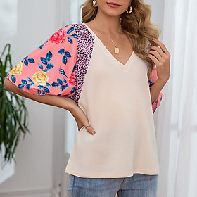 Women Short Sleeve T-shirt Waffle Knit V Neck Floral Leopard Print Splicing Loose Pullover Casual Summer Tops