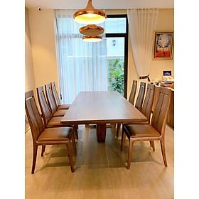 Bộ bàn ăn 8 ghế gỗ óc chó  - 2m4 ván thuyền