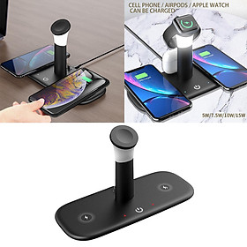 LH5 5in1 Qi Dual Wireless Pad Charger with Night Light for  Pro iWatch Airpods