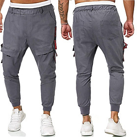 Men Casual Trousers Elastic Waist Pants for Spring Autumn Sports
