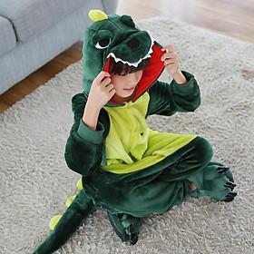 Bộ đồ liền thân lông mịn hình khủng long đủ size cho bé và cho người lớn