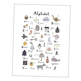 Nordic Kids Nursery Alphabet Education Prints Painting Home Decor Colorful