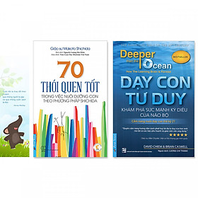 Combo 2 cuốn sách dạy con phát triển tư duy: 70 Thói Quen Tốt Trong Việc Nuôi Dưỡng Con Theo Phương Pháp Shichida + Dạy Con Tư Duy (Tặng kèm bookmark danh ngôn hình voi)