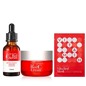 Combo Tinh chất và Kem dưỡng trắng da, làm mờ thâm Tiam My Signature Red C (Serum + Cream) + + Tặng 1 Mặt Nạ Vitamin C Dưỡng Trắng Da Tiam My Signature Vita Red Mask 23ml