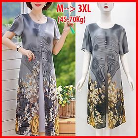 Đầm Suông Size Lớn Kiểu Đầm Cho Mẹ Trung Niên Xẻ Tà In Hoa Cam - THỜI TRANG TRUNG NIÊN ROMI 3288