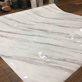 Giấy dán tường giả đá hoa cương màu trắng - khổ 1,2m - có sẵn keo