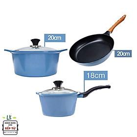 Combo 3 món cao cấp, bộ 2 nồi quánh đúc chống dính vân đá ceramic đế từ (18-20cm) và Chảo đúc cạn 20 cm dùng được tất cả các bếp, kể cả bếp từ - Hàng chính hãng