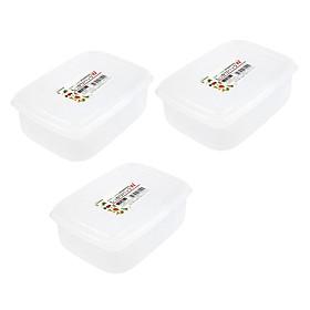 Bộ 03 hộp nhựa đựng thực phẩm chữ nhật Nakaya 1300ml hàng nội địa Nhật Bản K.305#