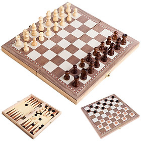 3-in-1 Multifunctional Wooden Chess Set Folding Chessboard Game Travel Games Chess Checkers Draughts and Backgammon Set