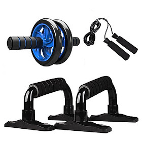 4-in-1 AB Wheel Roller Kit Abdominal Press Wheel Pro with Push-UP Bar Jump Rope and Knee Pad Portable Equipment for Home Exercise
