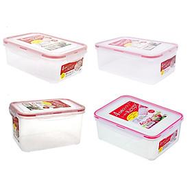 Combo 4 hộp nhựa chữ nhật bảo quản thực phẩm Inomata (Full size) - Có khóa nắp 4 chiều