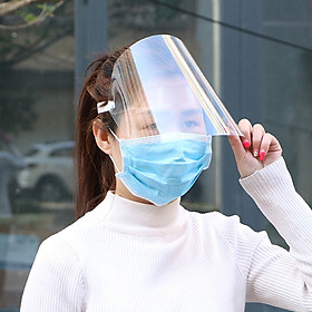 Protective Face Shield Clear Visor Flip Up Transparent Anti Splash Elastic Band Full Face Cover for Workshop Cooking