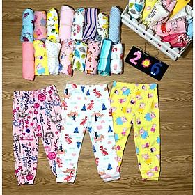 Quần dài bé gái set 10 chiếc chất liệu thun borip xuất khẩu màu sắc dễ thương