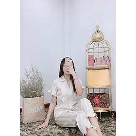 Đồ bộ ngủ Pijama mặc nhà Lụa Gấm tay ngắn quần dài - dài cộc phối bèo họa tiết dưới 62kg cho bạn nữ cực xinh và dễ thương
