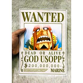 Poster One Piece Usopp Mới Nhất, Poster Lệnh Truy Nã Usopp (Hình dán tường tiện lợi, Chất lượng Full HD)