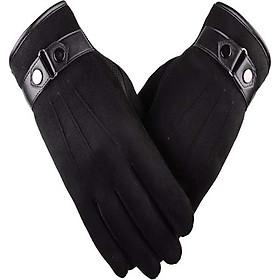 Găng tay da nam cảm ứng điện thoại chống nước lót nỉ giữ ấm mùa đông