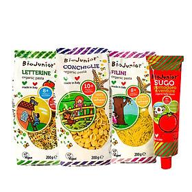Combo 3 gói mì ăn dặm + 1 sốt cà chua hữu cơ cho bé Bio Junior