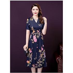Đầm Trung niên đầm quý bà Bigsize Đầm họa tiết - HATI 120
