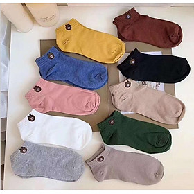 Set 10 đôi tất gấu nữ người lớn cổ ngắn - Tặng túi