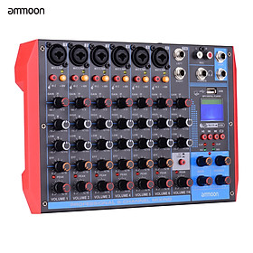 ammoon AG-8 Portable 8-Channel Mixing Console Digital Audio Mixer +48V Phantom Power Supports BT/USB/MP3 Connection for